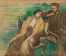 Edgar Degas (French, 1834-1917) Esquisse pour un portra