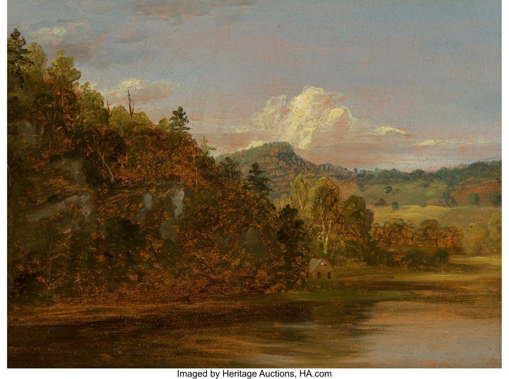 Thomas Cole (American, 1801-1848) River Landscape (American Lake in Summer) Oil