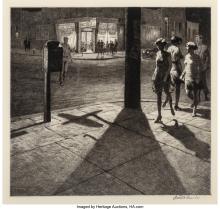 Martin Lewis (American, 1881-1962) Corner Shadows, 1930 Drypoint and sand ground