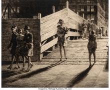 Martin Lewis (American, 1881-1962) 5th Avenue Bridge Crossing, 1928 Drypoint on