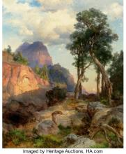 THOMAS MORAN (AMERICAN, 1837-1926) MOUNTAIN LION IN GRAND CANYON (LAIR OF THE MO