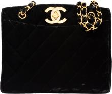 Chanel Black Quilted Velvet Tote Bag  Very Good to Exce