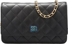 Chanel Black Quilted Caviar Leather Wallet on Chain Bag