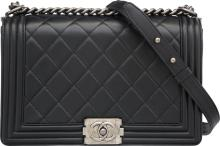 Chanel Black Quilted Lambskin Leather Boy Bag  Excellen