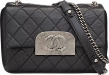 Chanel Black Quilted Distressed Lambskin Leather Should