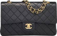 Chanel Black Quilted Lambskin Leather Medium Double Fla