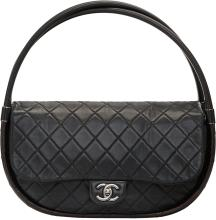 Chanel Black Quilted Lambskin Leather Medium Hula-Hoop