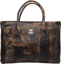 Chanel Green & Brown Python Cerf Tote Bag Very Good to
