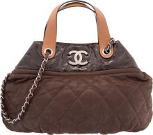 Chanel Brown Quilted Suede