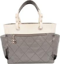 Chanel Gray & White Canvas Paris-Biarritz Tote Bag Very