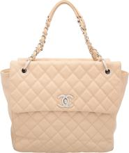 Chanel Beige Quilted Caviar Leather Tote Bag Very Good