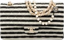 Chanel Quilted Black & White Striped Cotton Knit Coco S