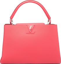 Louis Vuitton Rose Litchi Pink Leather Capucines MM Bag