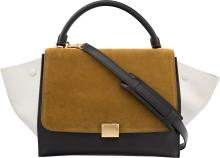 Celine Brown Suede & Black and White Leather Trapeze Ba