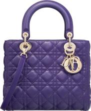 Christian Dior Purple Cannage Quilted Lambskin Leather
