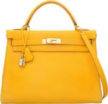 Hermes 32cm Jaune Courchevel Leather Retourne Kelly Bag