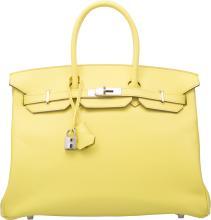 Hermes 35cm Soufre Epsom Leather Birkin Bag with Pallad