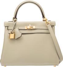 Hermes 25cm Sage Swift Leather Retourne Kelly Bag with