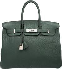Hermes 35cm Vert Fonce Fjord Leather Birkin Bag with Pa