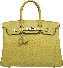Hermes 35cm Vert Anis Ostrich Birkin Bag with Palladium