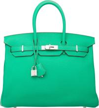 Hermes 35cm Menthe Clemence Leather Birkin Bag with Pal