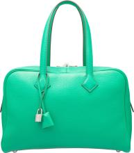 Hermes 35cm Menthe Clemence Leather Victoria Bag with P
