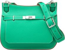Hermes Limited Edition 28cm Menthe Clemence Leather & G