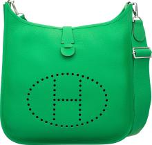 Hermes Bamboo Clemence Leather Evelyne III GM Bag with
