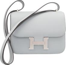 Hermes 18cm Blue Glacier Epsom Leather Double Gusset Co