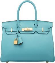 Hermes 30cm Blue Saint Cyr Clemence Leather Birkin Bag