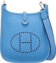 Hermes Blue Paradis Clemence Leather Evelyne TPM Bag wi