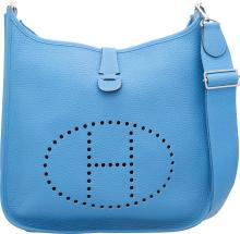 Hermes Blue Paradis Clemence Leather Evelyne III GM Bag
