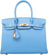 Hermes 30cm Blue Paradis Epsom Leather Birkin Bag with
