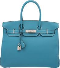 Hermes 35cm Blue Jean Togo Leather Birkin Bag with Pall