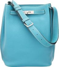 Hermes 22cm Blue Jean Togo Leather So Kelly Bag with Pa