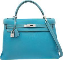 Hermes 32cm Blue Jean Togo Leather Retourne Kelly Bag w