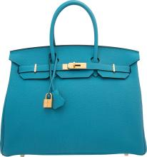 Hermes 35cm Turquoise Togo Leather Birkin Bag with Gold