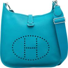 Hermes Turquoise Clemence Leather Evelyne III GM Bag wi