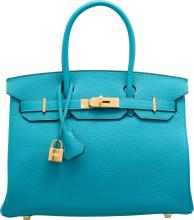 Hermes 30cm Turquoise Togo Leather Birkin Bag with Gold