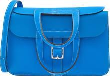 Hermes 31cm Blue Hydra Clemence Leather Halzan Bag with