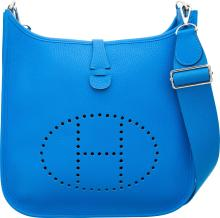 Hermes Blue Hydra Clemence Leather Evelyne III PM Bag w