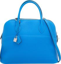 Hermes 35cm Blue Hydra Clemence Leather Mou Bolide Bag