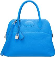 Hermes 31cm Blue Hydra Clemence Leather Mou Bolide Bag