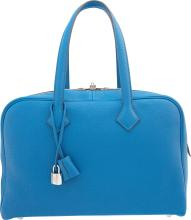 Hermes 35cm Mykonos Clemence Leather Victoria Bag with