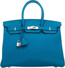Hermes 35cm Blue Izmir Clemence Leather Birkin Bag with
