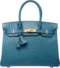 Hermes 30cm Cobalt Ostrich Birkin Bag with Gold Hardwar