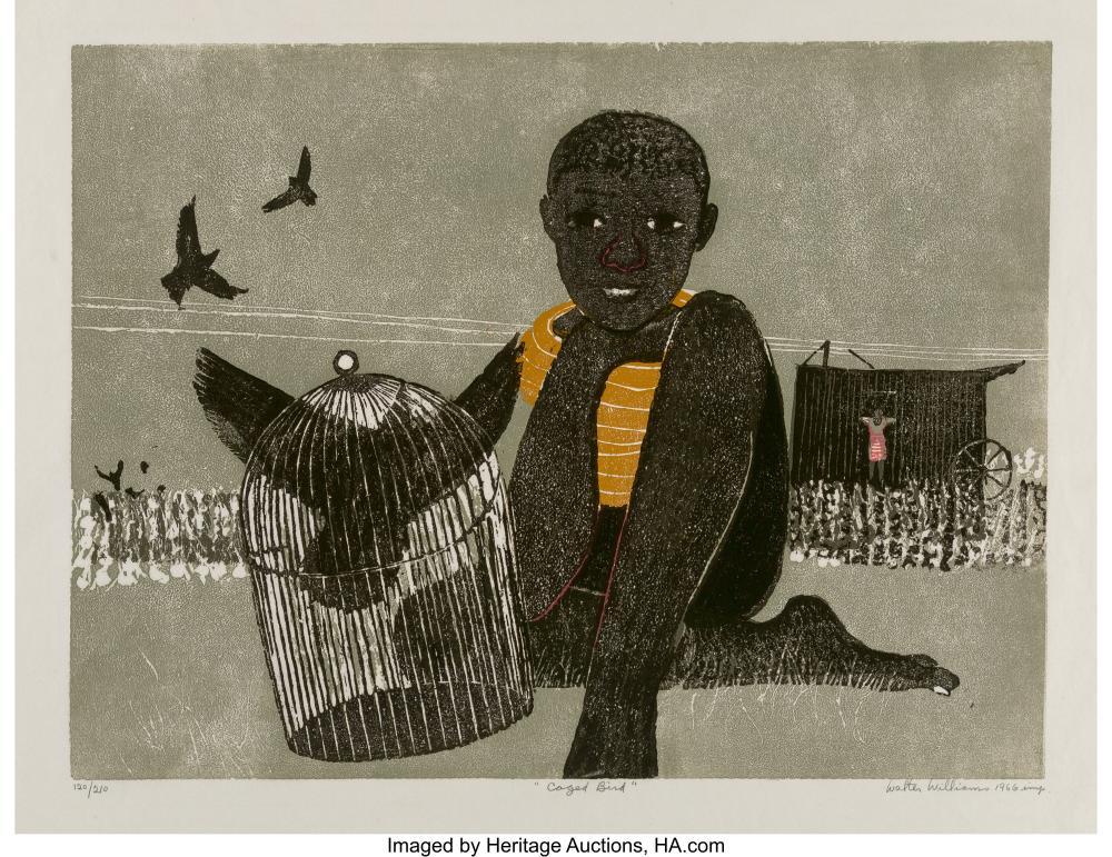 Walter Henry Williams (American/Danish, 1920-1998) Caged Bird, 1966 Woodcut on J