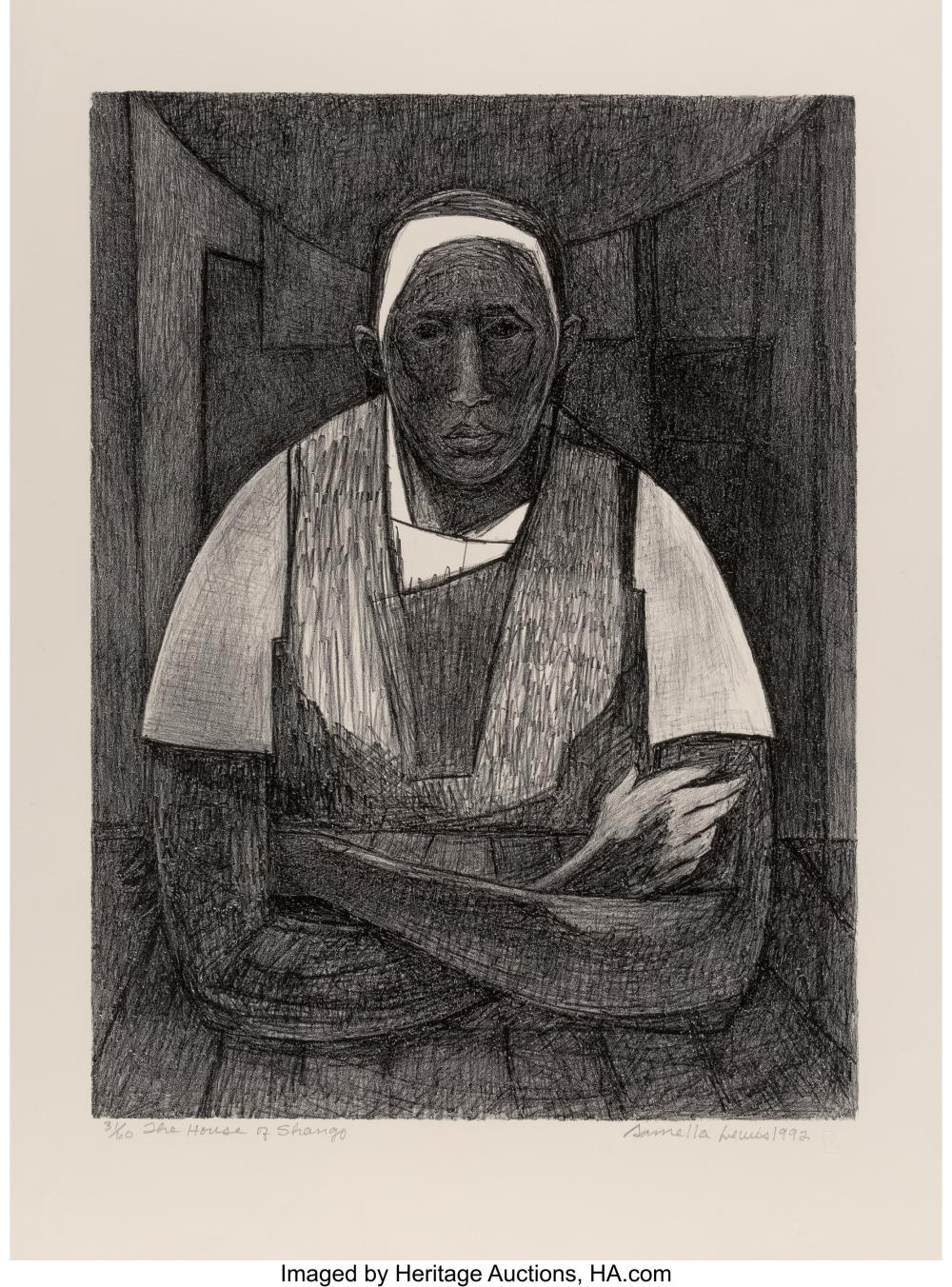 Samella Sanders Lewis (American, 1924) House of Shango, 1992 Lithograph on Arche