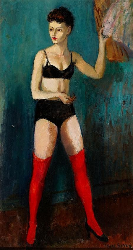 ISAAC SOYER (American, 1902-1981) Red Stockings