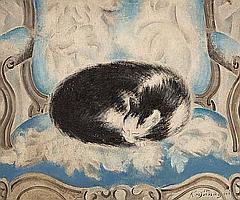 SEI KOYANAGUI (Japanese, 1896-1948) Cat sleeping